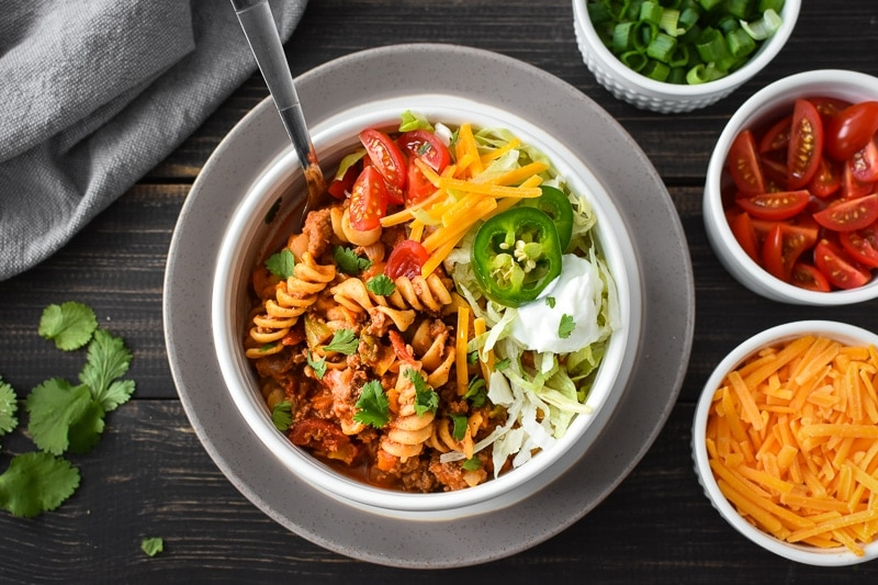 Healthy Instant Pot Cheesy Taco Pasta
