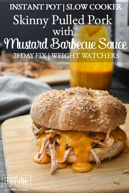 This healthy pulled pork with BBQ sauce is SO crazy delicious AND can be made in about an hour and a half from start to finish in the Instant Pot! It's such an easy, family-pleasing 21 Day Fix dinner!#bbq #picnic #easy #dinner #mealprep #weightloss #21dayfix #beachbody #lunch #instantpot #slowcooker #crockpot #healthy #healthydinner #weightwatchers