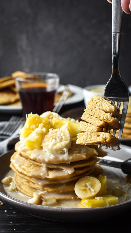 Whole Wheat Pancakes with Hawaiian Coconut Syrup