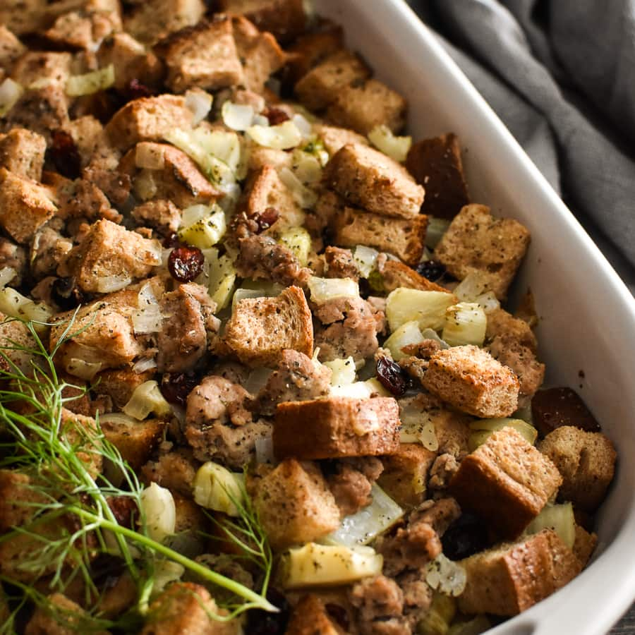 Healthy Sausage, Fennel And Cranberry Stuffing