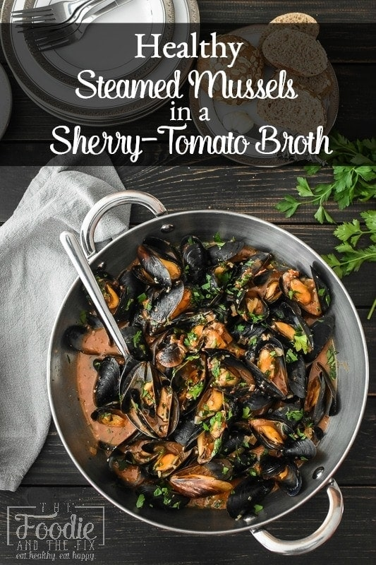 Steamed Mussels in Sherry-Tomato Broth make for an easy, inexpensive dinner or appetizer. A perfect 21 Day Fix Feast of the Seven Fishes recipe for Christmas Eve, too! #21dayfix #2bmindset #glutenfree #holiday #healthyholiday #appetizer #dinner #healthydinner #healthyappetizer #portionfix #quick #seafood #feastofthesevenfishes #italian