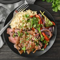 Cilantro-Lime Flank Steak Sheet Pan Dinner with Spicy Peanut Sauce
