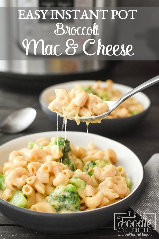 This healthy Instant Pot Broccoli Mac and Cheese is the perfect quick and easy kid-friendly dinner! It's a great potluck dish, too! #21dayfix #portionfix #weightwatchers #potluck #dinner #lunch #healthy #healthydinner #instantpot #healthyinstantpot #healthylunch #sidedish #kidfriendly #mealprep #weightloss