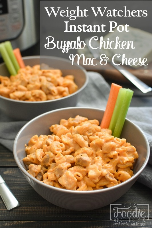 This Healthy Instant Pot Buffalo Chicken Mac and Cheese is the super quick, easy and delicious weeknight dinner you've been waiting for! #21dayfix #portionfix #weightwatchers #instantpot #healthyinstantpot #dinner #healthydinner #mealprep #lunch #healthylunch #weightloss #superbowl #gameday #potluck