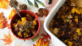21 Day Fix Apple Butternut Squash Casserole with Bacon & Pecan Topping