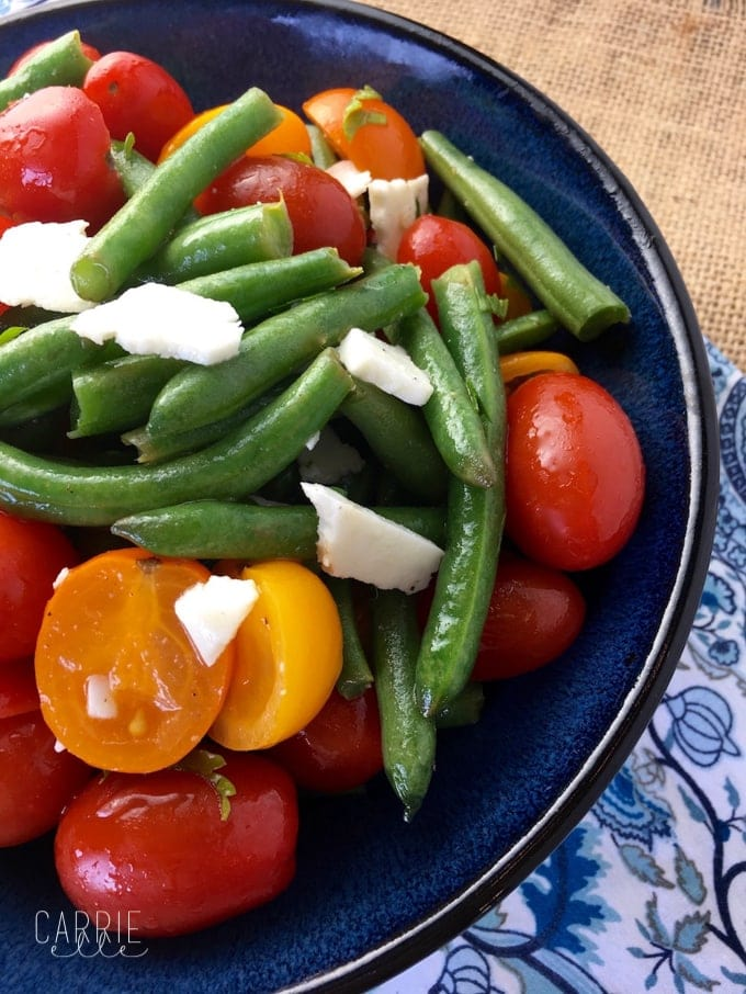 21 Day Fix Green Bean Salad with Tomatoes and Feta (with Weight Watchers Points)