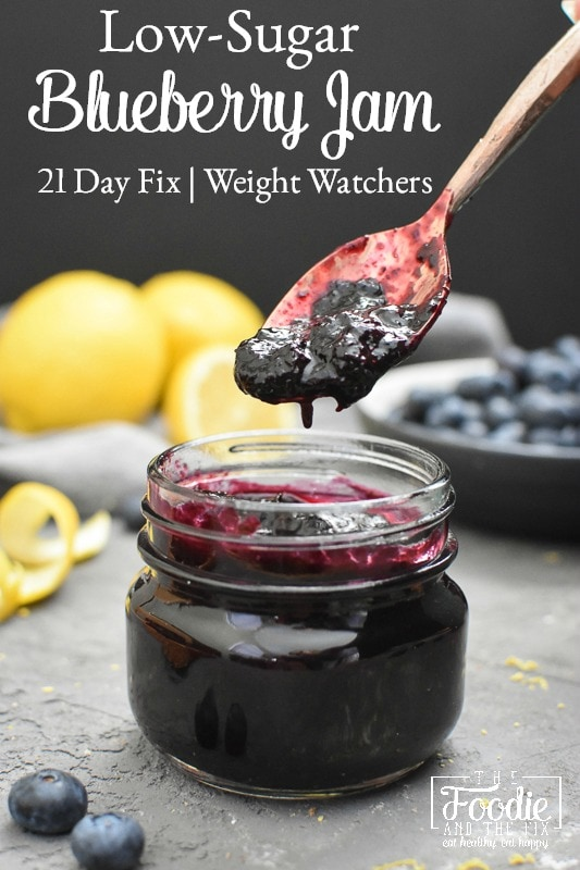 This easy and delicious Low-Sugar Quick Blueberry Jam requires no pectin or canning! It's low in calories, too, so it's perfect for 21 Day Fix or Weight Watchers! #21dayfix #ultimateportionfix #portionfix #weightwatchers #beachbody #weightloss #mealprep #healthy #healthybreakfast #breakfast #kidfriendly #glutenfree #dairyfree #vegan #vegetarian #mothersday #brunch #healthybrunch #quick #easy