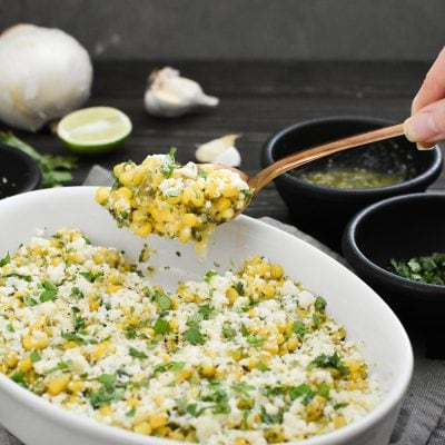Cheesy Salsa Verde Corn