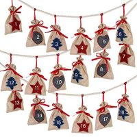 Christmas Advent Calendar 24 Days Burlap Hanging Advent Calendars