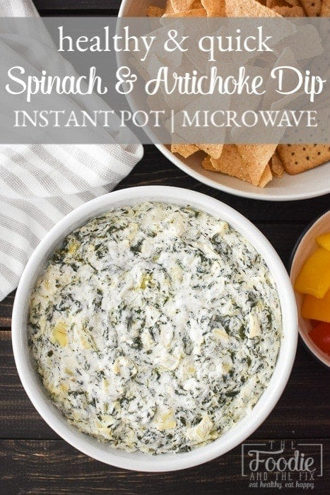 Quick Spinach and Artichoke Dip (made in Instant Pot or microwave) is the perfect last minute appetizer for any holiday or game day. Healthy, easy & delish! #21dayfix #weightwatchers #gameday #holiday #healthygameday #healthyholiday #snack #appetizer #healthysnack #healthyappetizer #mealprep #weightloss #kidfriendly #instantpot #microwave #party #partyfood #healthypartyfood #vegetarian #glutenfree