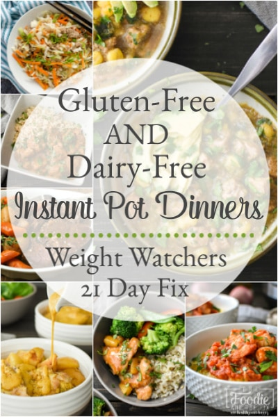 These Gluten-Free and Dairy-Free Instant Pot dinner recipes are easy, delicious and healthy meals the whole family will love! 21 Day Fix & Weight Watchers. #21dayfix #weightwatchers #healthy #healthydinners #recipes #healthyrecipes #glutenfree #dairyfree #instantpot #pressurecooking #kidfriendly #mealprep #weightloss #easyrecipes