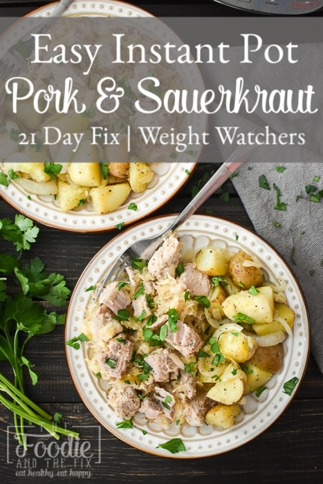 This Instant Pot Pork and Sauerkraut is so delicious and has only 5 ingredients! It makes for an easy, healthy dinner the whole family will love! #newyearsday #goodluck #21dayfix #weightwatchers #mealprep #freezermeal #5ingredients #fiveingredients #weightloss #glutenfree #dairyfree #dinner #healthydinner #easydinner #instantpot #pressurecooker #healthy #healthyrecipe