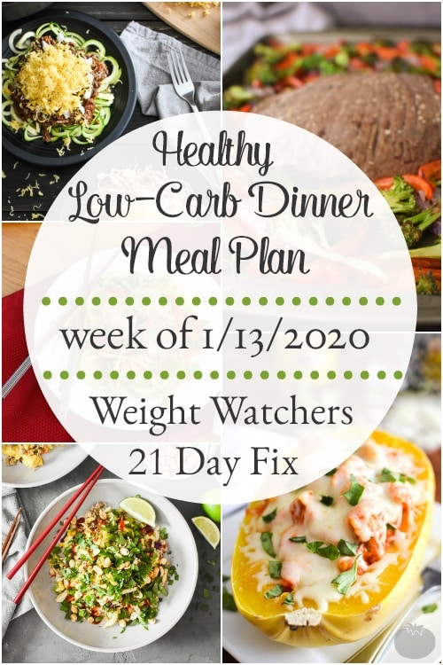 This low-carb dinner meal plan with a printable grocery list is full of delicious, flavorful meals that'll have you looking forward to dinner every night! #mealplan #mealplanning #mealprep #healthy #healthydinners #21dayfix #portioncontrol #portionfix #weightwatchers #ww #2bmindset #lowcarb #grocerylist #healthymealplan #instantpot