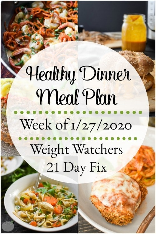 This healthy dinner meal plan includes 5 easy, delish meals (and a printable grocery list!) that'll have you looking forward to dinnertime! Plus meal prepping ideas for breakfast, lunch and snacks! 21 Day Fix | Weight Watchers #mealplan #mealplanning #mealprep #healthy #healthydinners #21dayfix #portioncontrol #portionfix #weightwatchers #ww #grocerylist #healthymealplan #instantpot #ultimateportionfix #weightloss #beachbody
