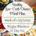 Healthy Dinner Meal Plan Week of 1/13/2020