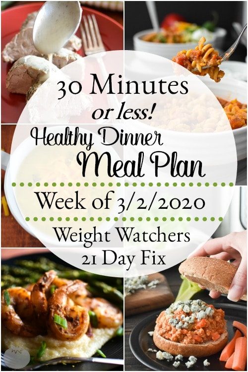 This 30 Minute-or-Less healthy dinner meal plan includes 5 easy, delish meals (and a printable grocery list!) that'll have you looking forward to dinnertime! Plus meal prepping ideas for breakfast, lunch and snacks! 21 Day Fix | Weight Watchers #mealplan #mealplanning #mealprep #healthy #healthydinners #21dayfix #portioncontrol #portionfix #weightwatchers #ww #grocerylist #healthymealplan #instantpot #ultimateportionfix #weightloss #beachbody #30minutesorless #30minutemeals