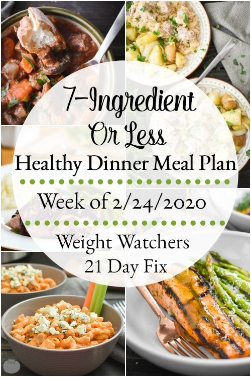 This 7-Ingredient-or-less healthy dinner meal plan includes 5 easy, delish meals (and a printable grocery list!) that'll have you looking forward to dinnertime! Plus meal prepping ideas for breakfast, lunch and snacks! 21 Day Fix | Weight Watchers #mealplan #mealplanning #mealprep #healthy #healthydinners #21dayfix #portioncontrol #portionfix #weightwatchers #ww #grocerylist #healthymealplan #instantpot #ultimateportionfix #weightloss #beachbody