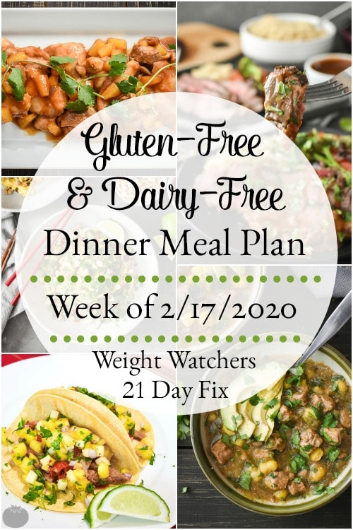 This gluten-free and dairy-free healthy dinner meal plan includes 5 easy, delish meals (and a printable grocery list!) that'll have you looking forward to dinnertime! Plus meal prepping ideas for breakfast, lunch and snacks! 21 Day Fix | Weight Watchers #mealplan #mealplanning #mealprep #healthy #healthydinners #21dayfix #portioncontrol #portionfix #weightwatchers #ww #grocerylist #healthymealplan #instantpot #ultimateportionfix #weightloss #beachbody #glutenfree #dairyfree