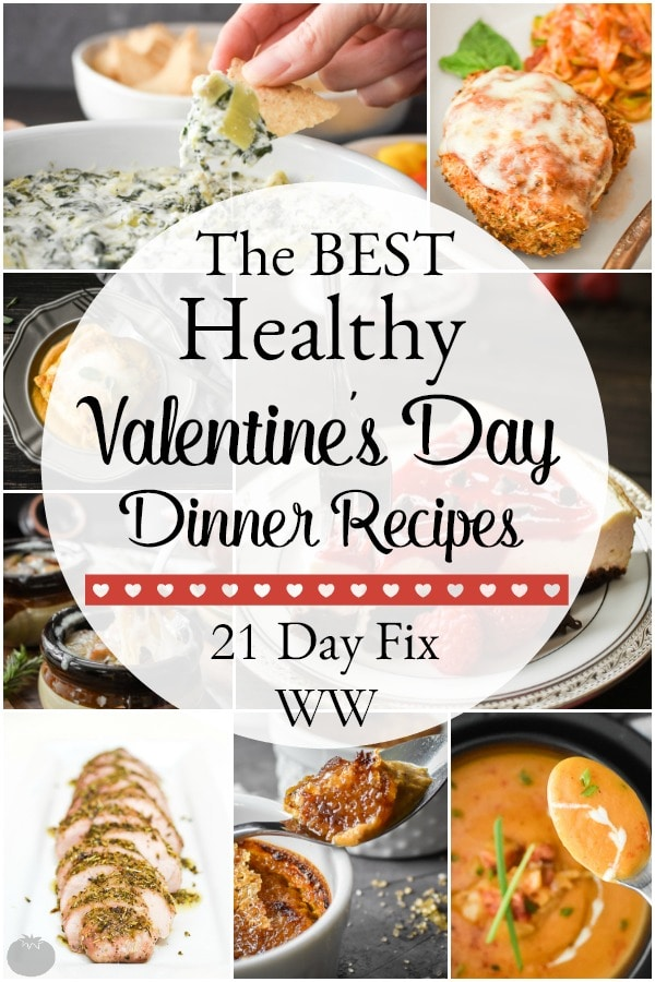 Healthy Valentine's Day dinner recipes from cocktails to desserts to make meal planning easy! All recipes include 21 Day Fix container counts! #21dayfix #weightwatchers #valentinesday #healthy #healthydinner #healthyvalentineday #weightloss #portioncontrol #mealplanning #beachbody #portionfix #ultimateportionfix #romanticdinner