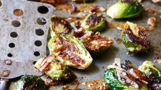 Roasted Brussels Sprouts with Mustard Sauce and Charred Shallots