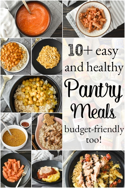 These easy, healthy pantry meals use ONLY pantry ingredients making them budget-friendly! They're dairy-free, many are vegan and all are quick and delish! #healthy #pantrymeals #pantrydinners #healthypantrymeals #budgetfriendly #21dayfix #weightwatchers #ww #weightloss #dairyfree #vegan #camping #cheapeats