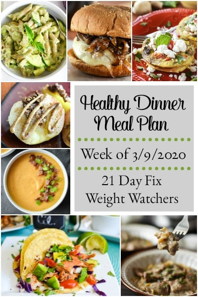 This dinner meal plan includes 5 easy, delish meals (and a printable grocery list!) that'll have you looking forward to dinnertime! Plus meal prepping ideas for breakfast, lunch and snacks! 21 Day Fix | Weight Watchers #mealplan #mealplanning #mealprep #healthy #healthydinners #21dayfix #portioncontrol #portionfix #weightwatchers #ww #grocerylist #healthymealplan #instantpot #ultimateportionfix #weightloss #beachbody