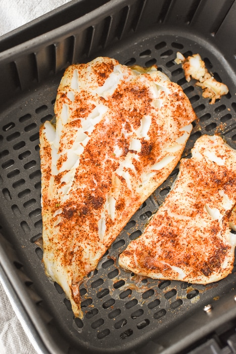 Cooked seasoned fish for tacos.