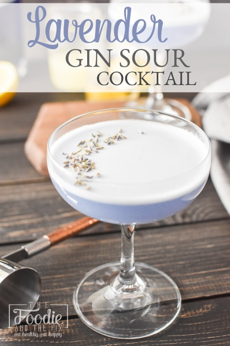 This easy Lavender Gin Sour recipe uses the addition of lavender to a traditional gin sour recipe to make a truly special, light, refreshing cocktail! This delicious 21 Day Fix cocktail is perfect all year long! #21dayfix #weightwatchers #cocktail #cocktails  #21dayfixcocktails #21dayfixcocktail #upf #ultimateportionfix #summer #gin #lavender #mothersday #bridalshower #cocktailparty #drinks #glutenfree