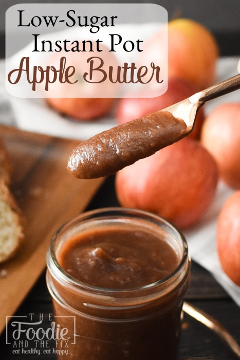 Apple Butter on a knife with text