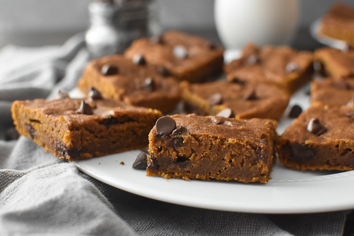 A plate of pumpkin blondies