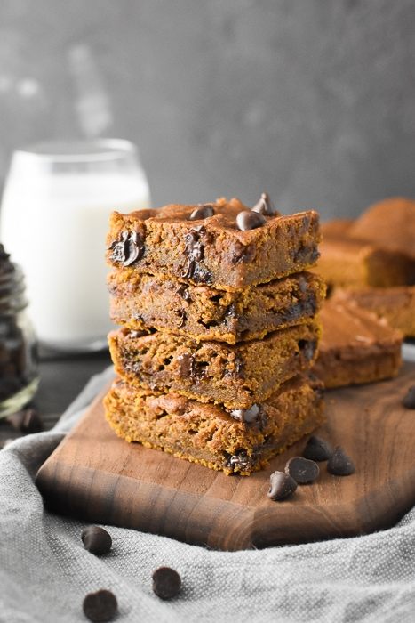 A stack of pumpkin blondies