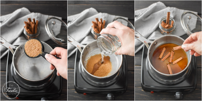 A collage of photos showing how to make cinnamon syrup