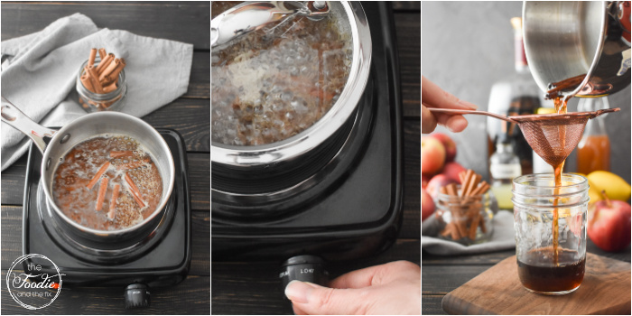 A collage of photos showing how to make an apple bourbon cocktail