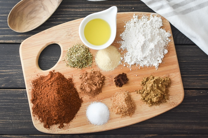 Spices shown on a cutting board