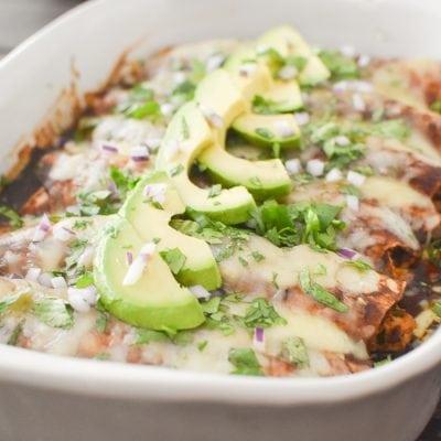 The BEST Healthy Chicken Enchiladas
