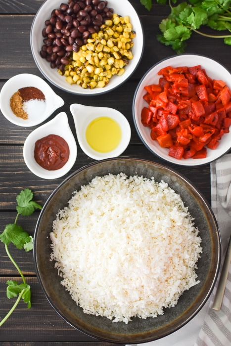 Ingredients to make Cauliflower Fiesta Rice
