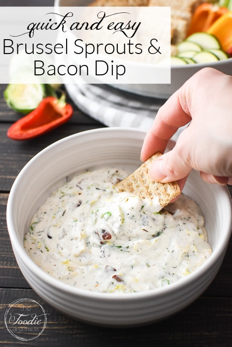 This Healthy Brussels and Bacon Dip is quick, easy, and creamy-delicious! It's also gluten-free and packed with protein for healthy snacking! #21dayfix #UPF #weightwatchers #snacking #holiday #christmas #thanksgiving #gameday #healthygameday #glutenfree #ww #healthy #healthysnack #weightloss #kidfriendly