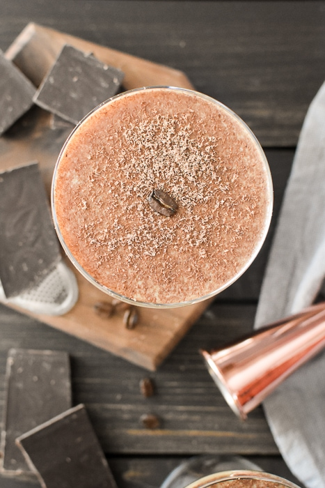 overhead shot of a rye mocha cocktail