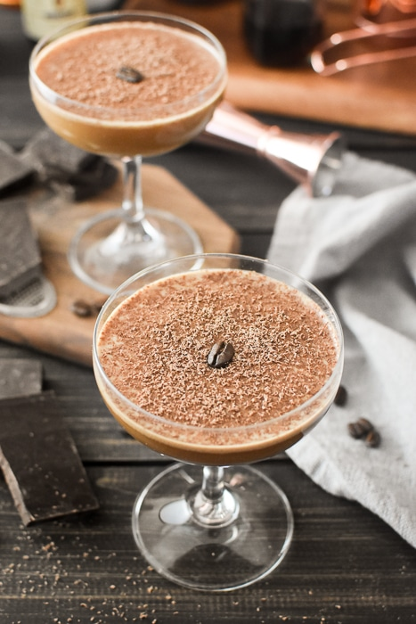 rye mocha cocktail in a coupe