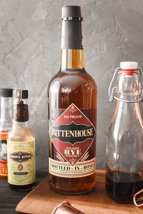 a bottle of Rittenhouse Rye Whiskey