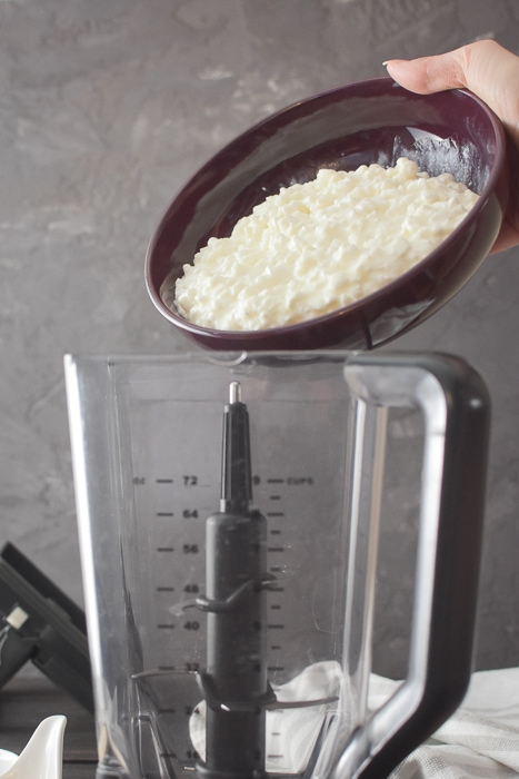 cottage cheese going into a blender
