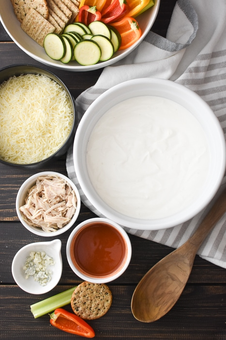 All of the ingredients to make healthy buffalo chicken dip