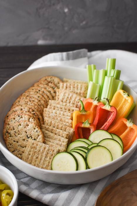crackers and veggies to dip with