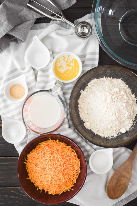 Ingredients for whole wheat cheddar bay biscuits