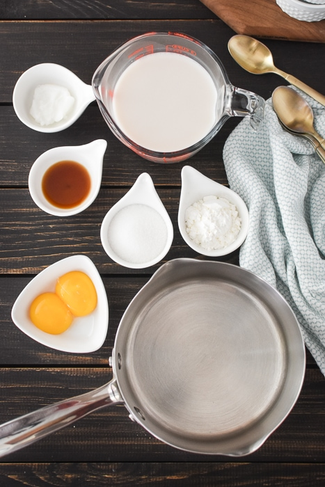 ingredients for dairy-free vanilla pudding