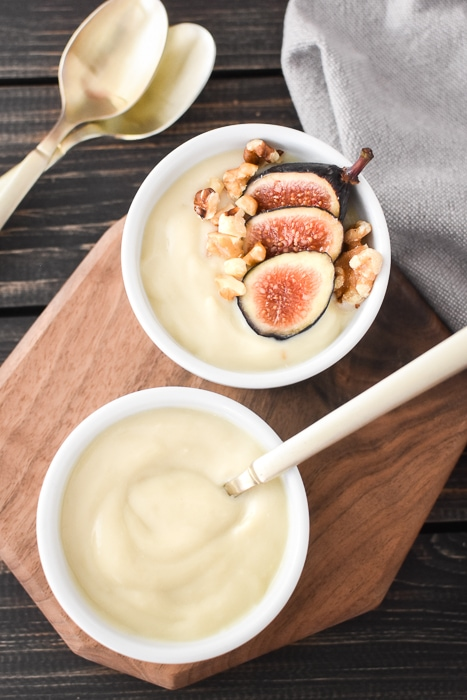 Dairy-free vanilla pudding with figs and walnuts