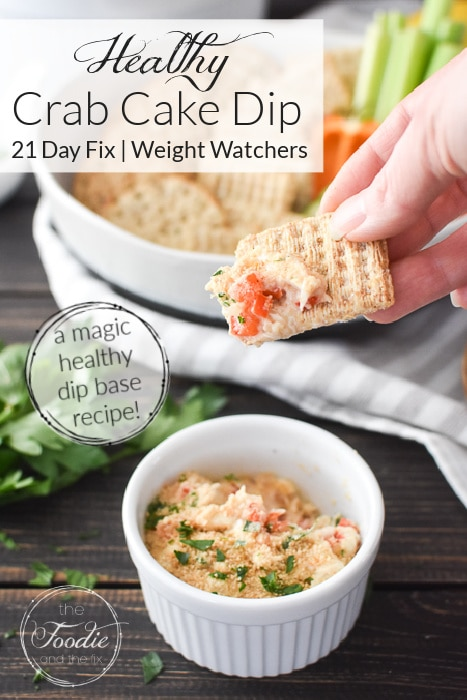 This healthy Crab Cake Dip is so delicious and perfect for game night, the holidays, lent or valentine's day! Plus it's packed with protein for sneaky-healthy snacking! #21dayfix #UPF #weightwatchers #snacking #holiday #christmas #thanksgiving #gameday #healthygameday #ww #healthy #healthysnack #weightloss #valentinesday #lent #christmaseve #feastofthesevenfishes