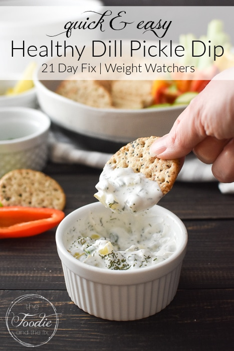 This healthy Dill Pickle Dip is quick, easy, and creamy-delicious! It's also gluten-free and packed with protein for healthy snacking! #21dayfix #UPF #weightwatchers #snacking #holiday #christmas #thanksgiving #gameday #healthygameday #glutenfree #ww #healthy #healthysnack #weightloss #kidfriendly