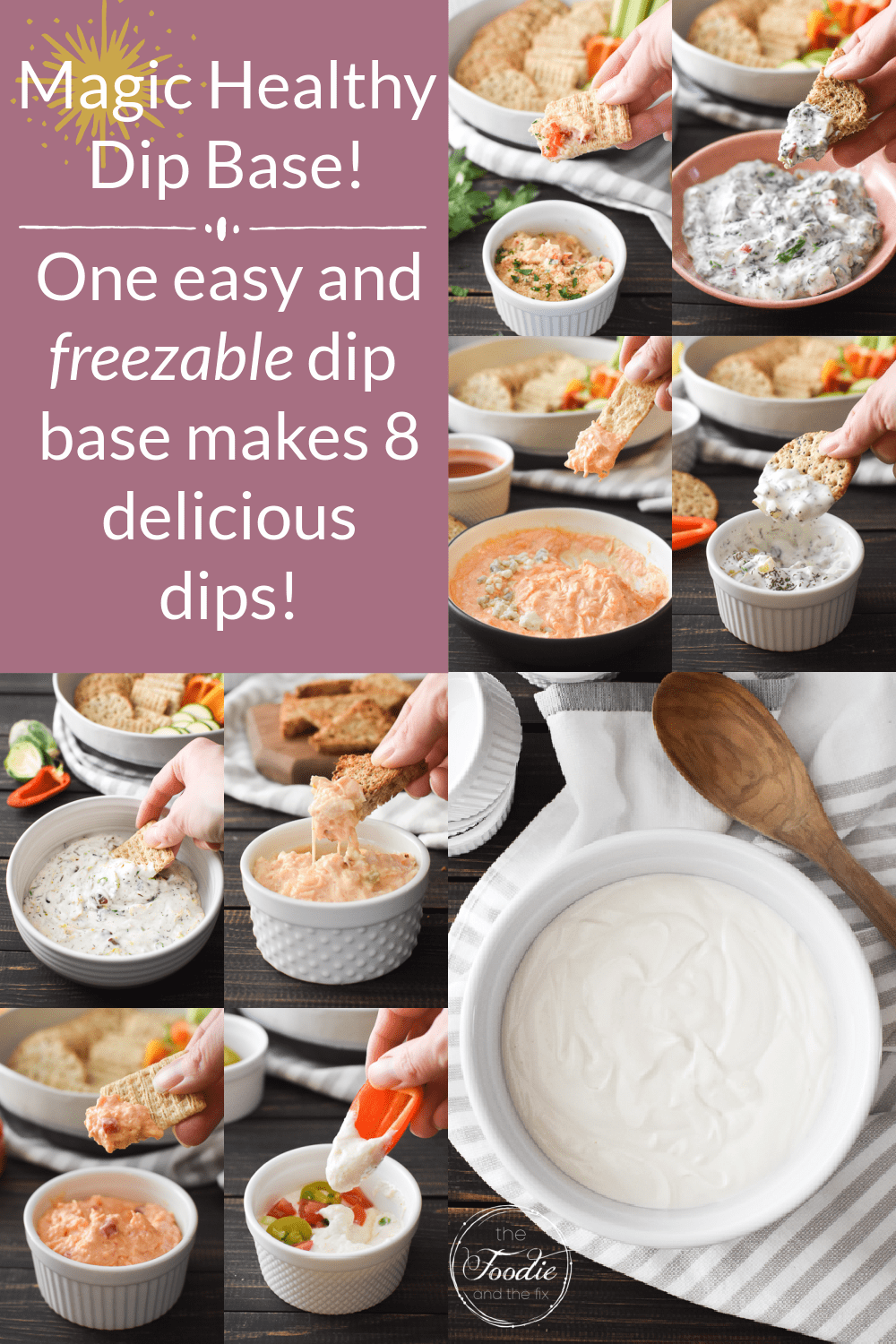 This magic healthy dip base gives you endless add-in options for making any delicious dip that you dream up! It's also gluten-free, quick and easy to make, and you can keep portions in your freezer for last-minute snacking! #21dayfix #UPF #weightwatchers #snacking #holiday #christmas #thanksgiving #gameday #healthygameday #glutenfree #kidfriendly #ww #healthy #healthysnack #weightloss