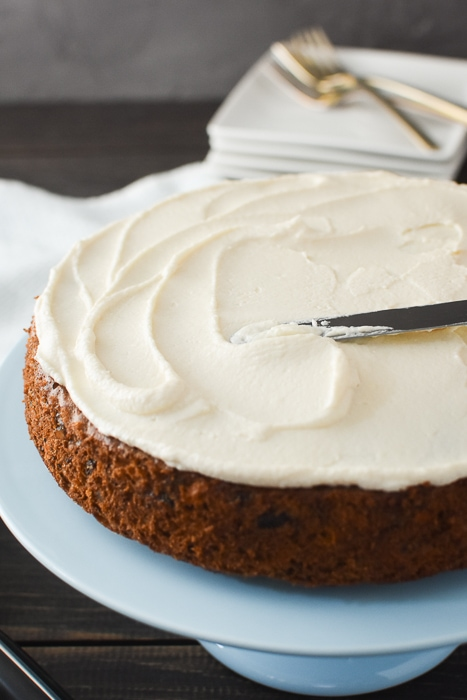 21 Day Fix carrot cake is tender, perfectly spiced with a delish, tangy frosting! Refined sugar-free, Weight Watchers and perfect for Easter! #21dayfix #upf #ultimateportionfix #weightwatchers #easter #healthyeaster #dessert #healthydessert #refinedsugarfree #goatcheese #holiday #healthyholiday #holidays #springrecipe #springrecipes